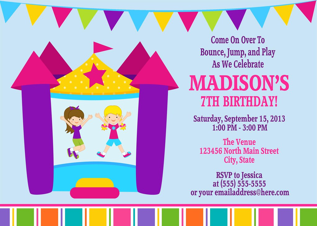 Printable Bounce House Birthday Party Invitation | I have ma… | Flickr