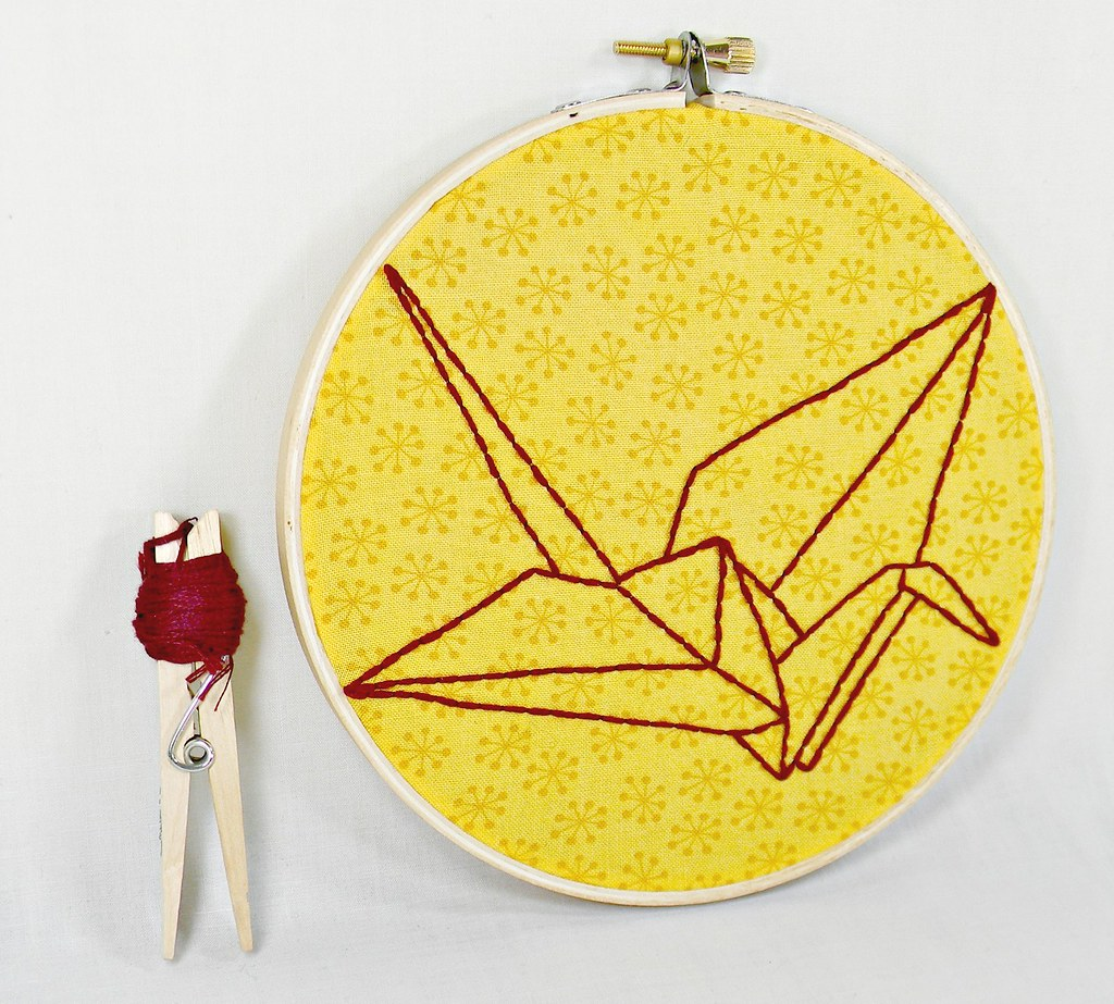Origami Paper Crane Embroidery Hoop Art. Mustard and Burgu… | Flickr