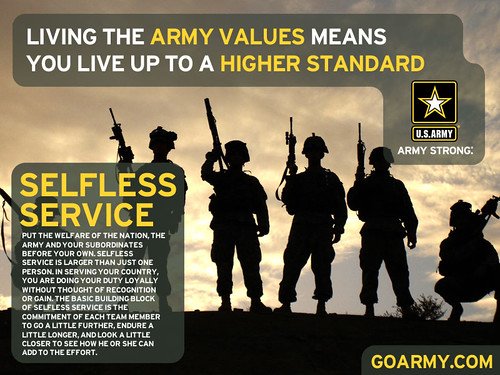 Selfless Service | Put the welfare of the Nation, the Army ...