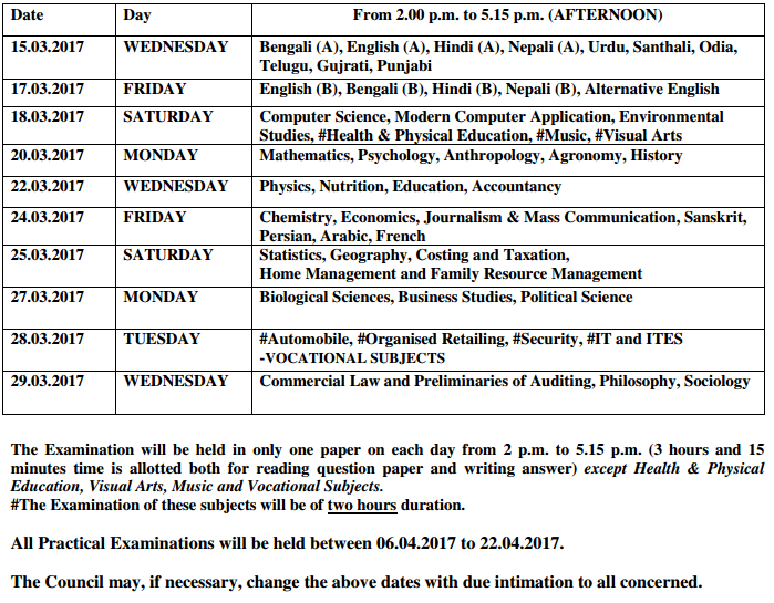 static exam schedule craq
