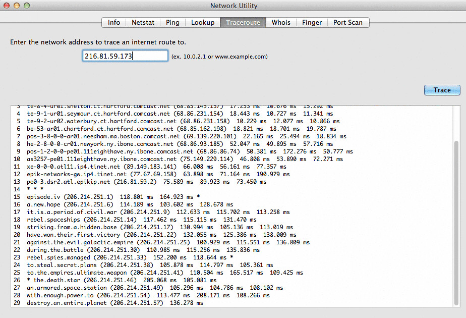 i thought the star wars traceroute was a myth it s not flickr