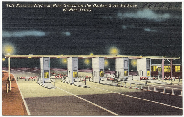 Toll Plaza At Night At New Gretna On The Garden State