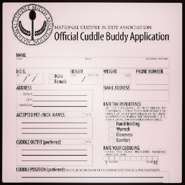 Cuddle buddy application form :/ | zaccloutman | Flickr