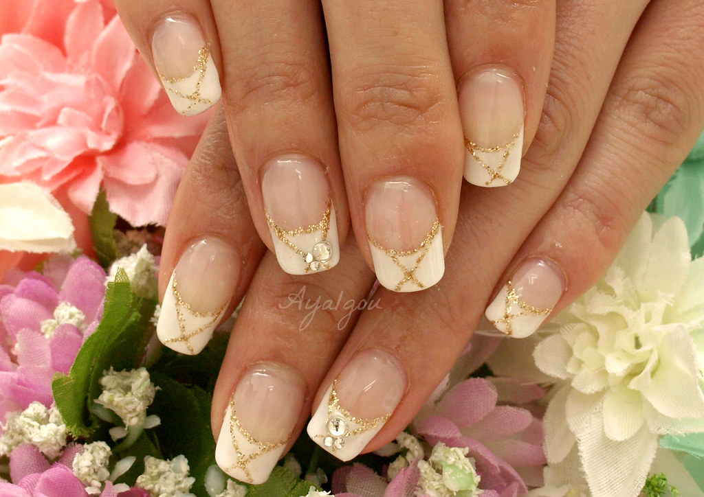 French nails with gold lines and gems | My client Her own na… | Flickr