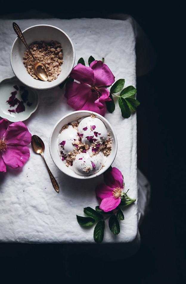 Vegan coconut + rose petal ice cream with cardamom crumble ...
