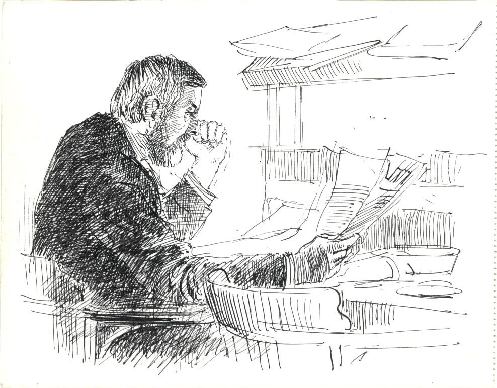 En pleine lecture, une scène typique du Café de Pels à Amsterdam - Dessin de Rupert van der Linden.