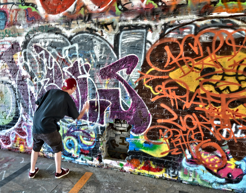Graffiti wall tacoma -  Graffiti Garage Action Downtown Tacoma Washington By Don Briggs