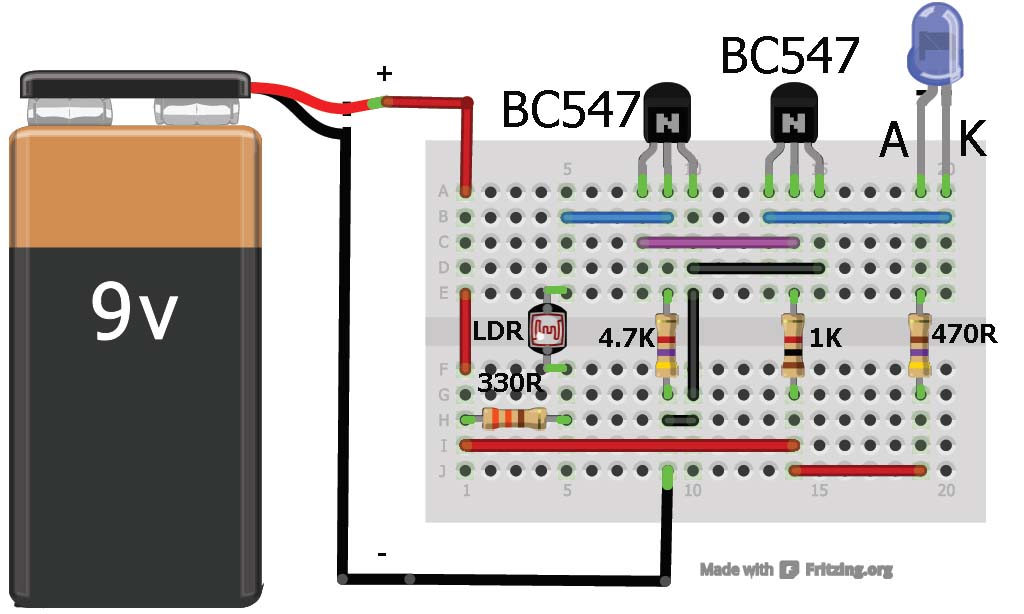 Dark sensor using transistor photodiode and phototransist