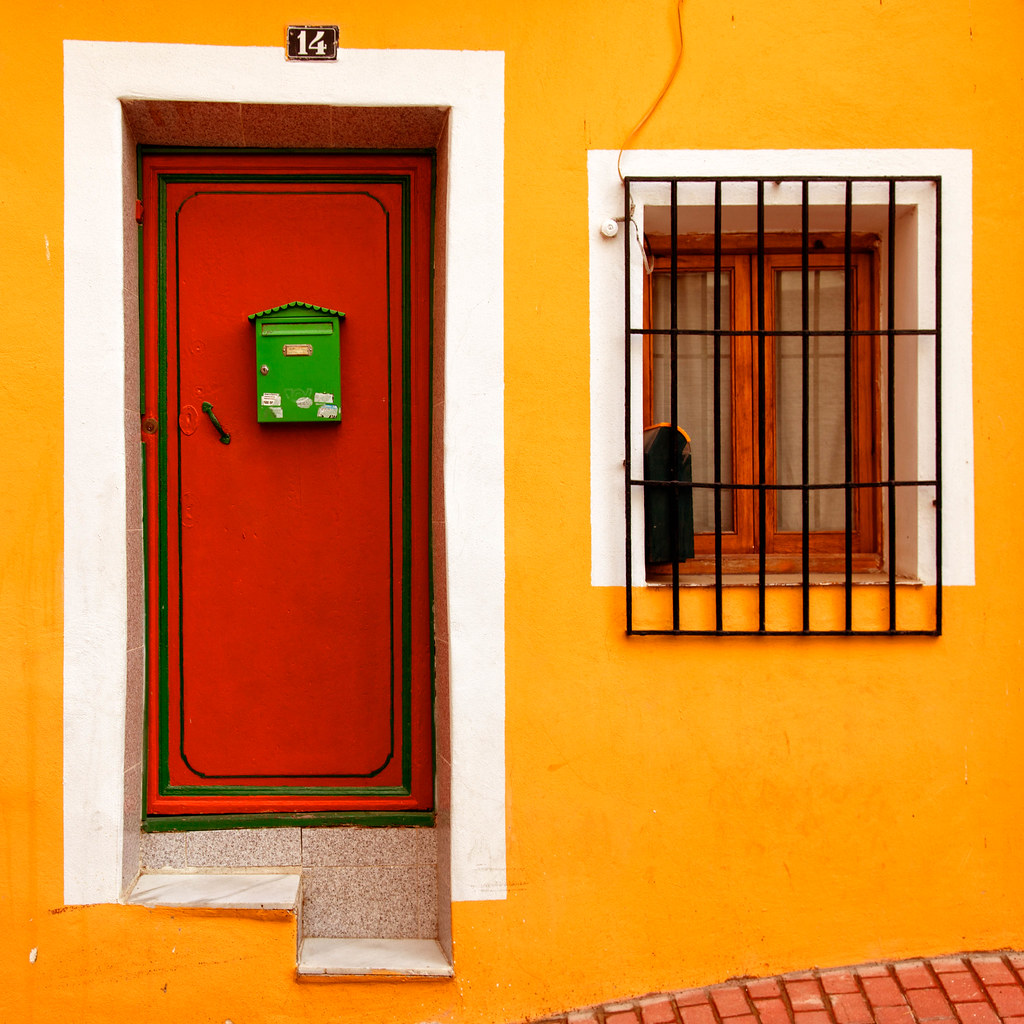 "yellow house with red door and green mailbox | press ""l"" for… 