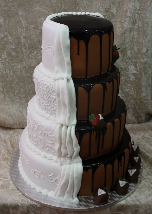 brown wedding cakes wedding cake with strawberries irena flickr 12198