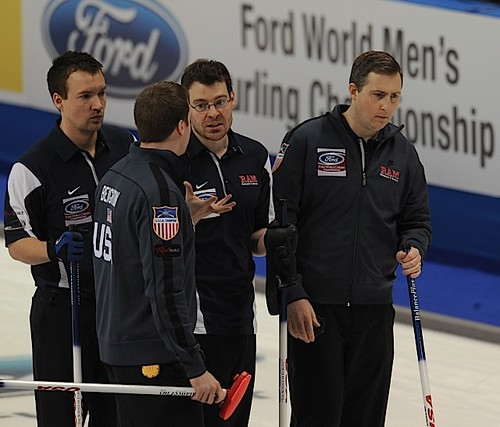 Victoria B.C.April 4,2013.Ford Men's World Curling Championship.U.S.A. skip Brady Clark.third Sean Beighton,second Greg  Persinger,lead Phillip Tilker.CCA/michael burns photo | by seasonofchampions