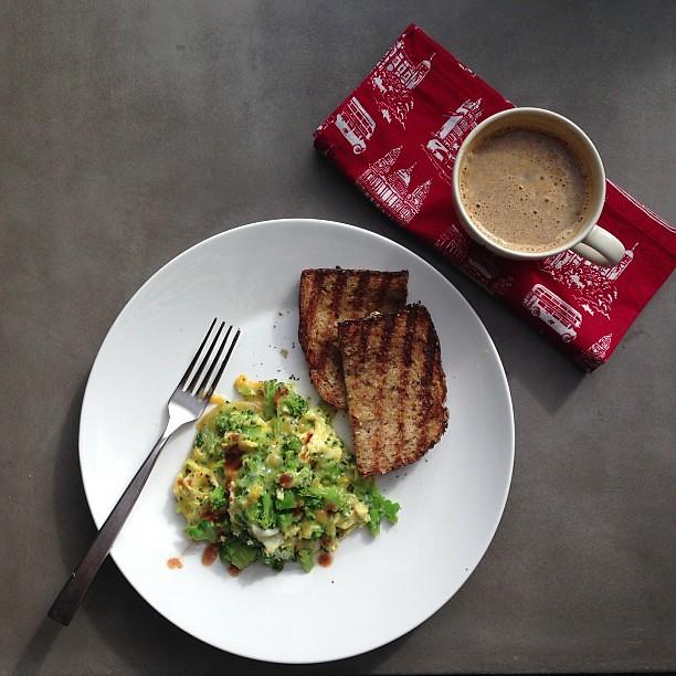 Broccoli cheddar scramble, toast & an Americano. | tracy benjamin ...
