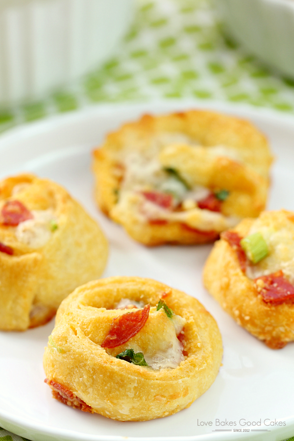 Pizza Pinwheels on a white plate.