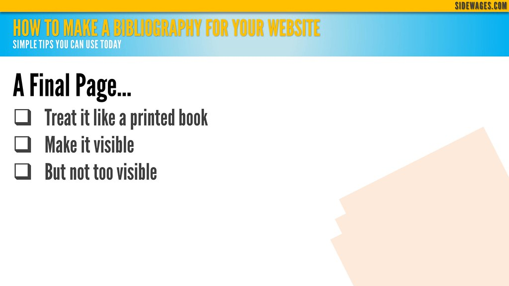 ... How to Make a Bibliography for Your Website - PowerPoint Slidedeck: 05 - by SideWages