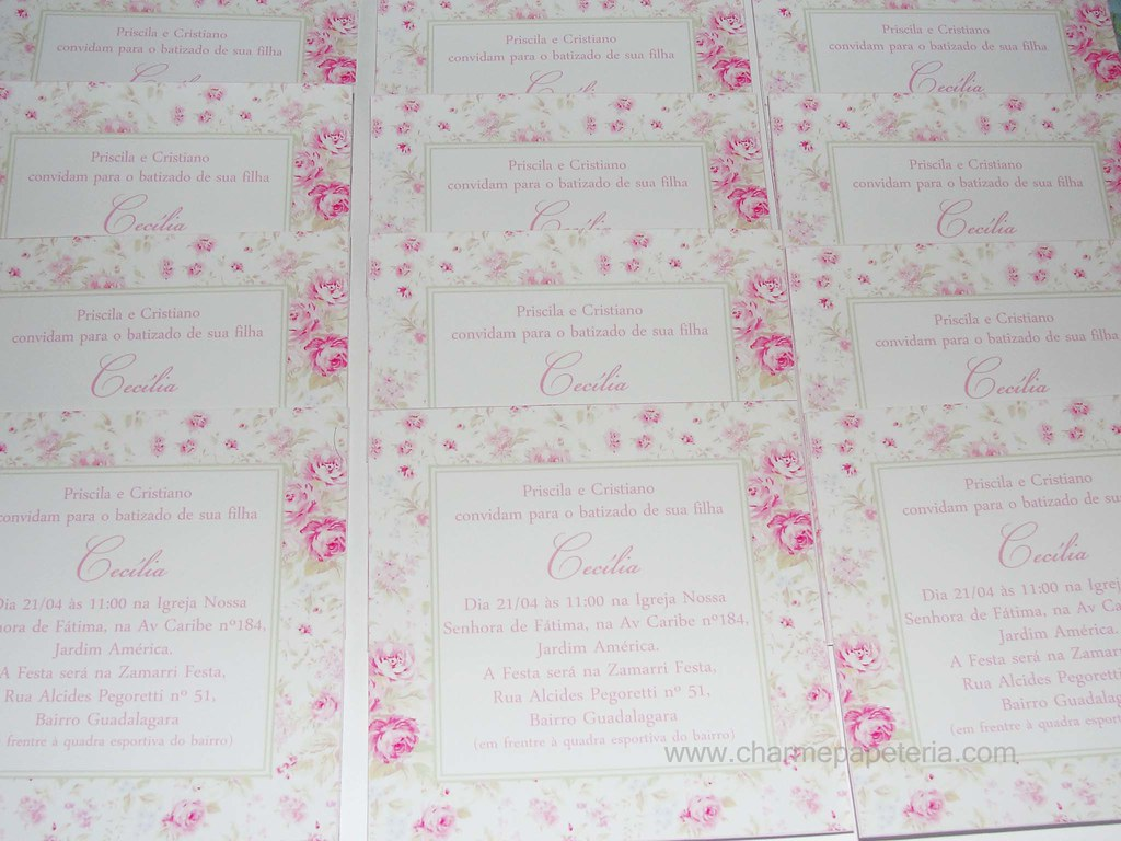 Convite Batizado Floral Rosa Verde E Branco Convite Quadr Flickr