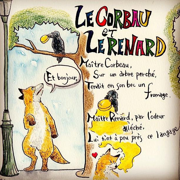 Le corbeau et Le renard 3 #corbeau #renard #crow #fox #des ...  Le corbeau et L...