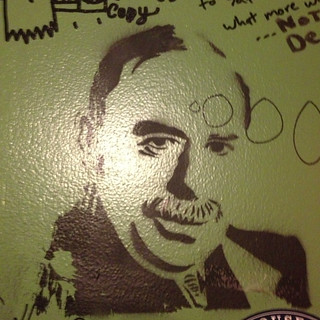 Oh, just making bathroom graffiti with my John Maynard Keynes stencil. | by Adam Keys
