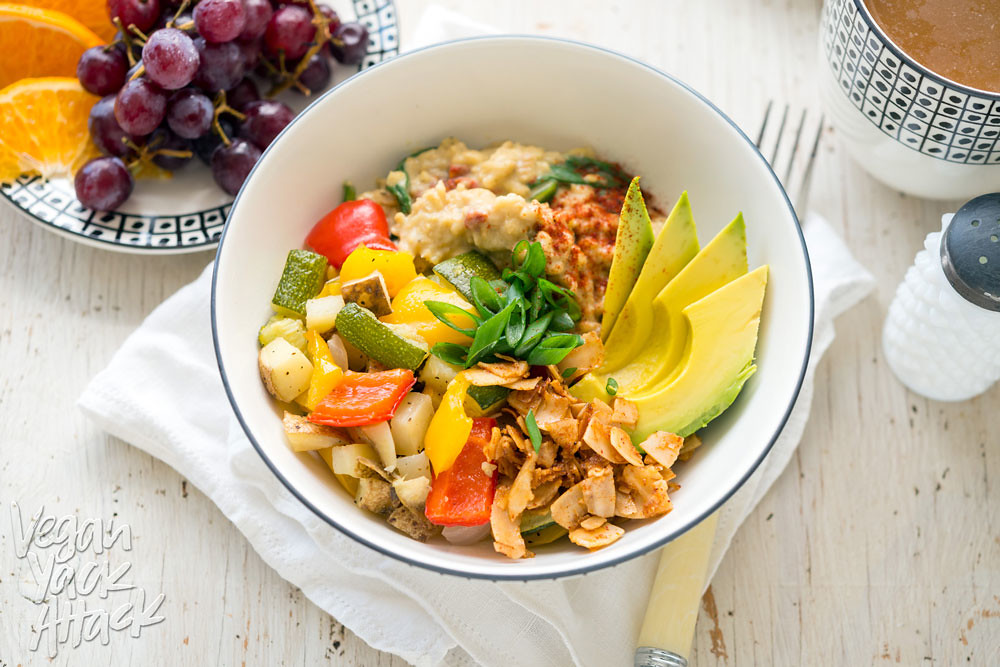 Savory Oat Breakfast Bowl - A hearty, delicious, healthy and gluten-free breakfast! #vegan