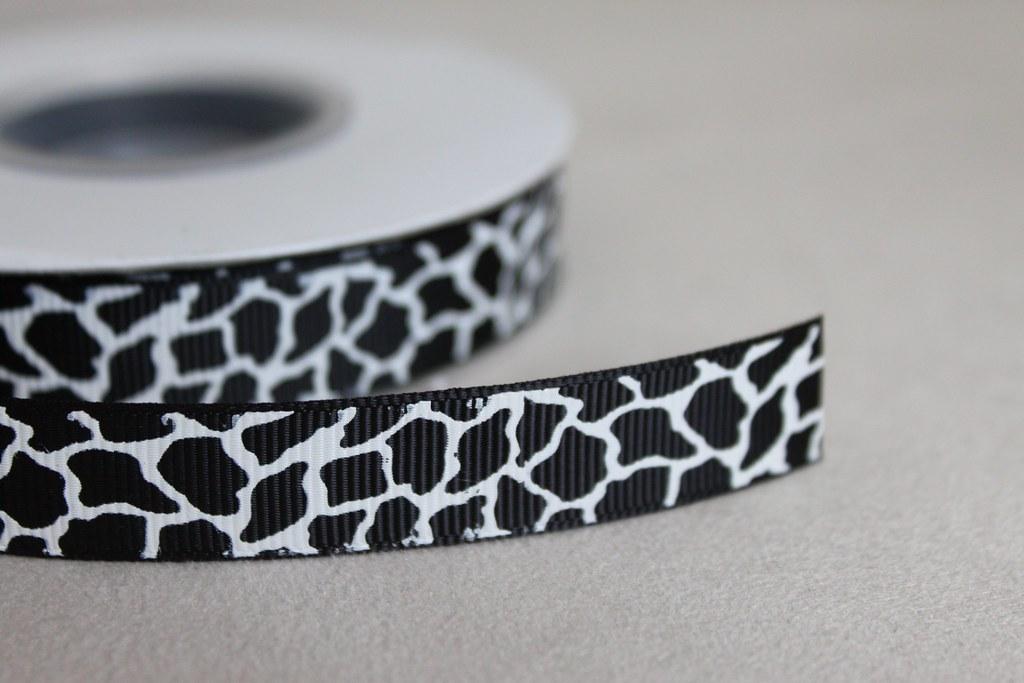 Ripsband 15mm, Giraffe schwarz