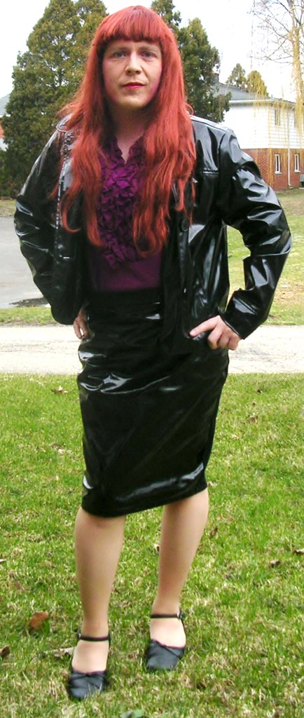 Outdoors In Purple Blouse And Pvc Jacket Skirt Here I Am