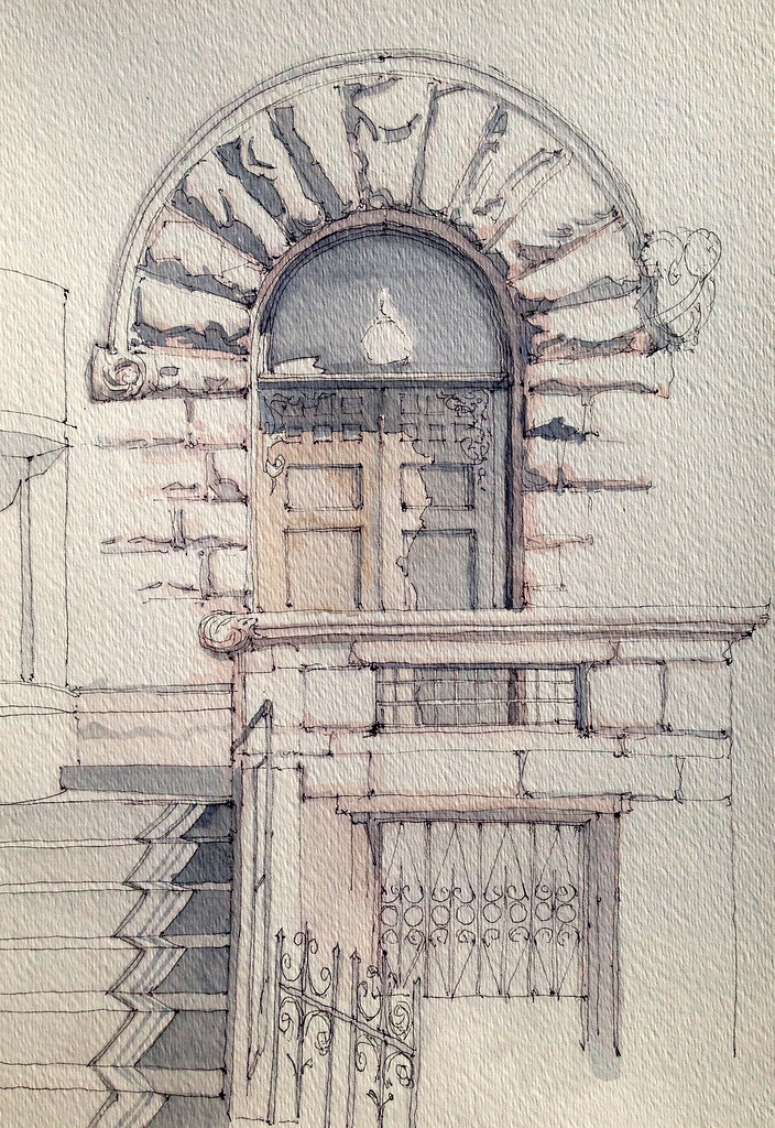 Chiklet rusticated stone entrance ink and watercolor for Paper for architectural drawings