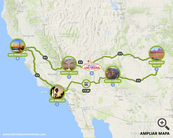 Mapa de 10 días de ruta por la Costa Oeste de EEUU más la ruta 66