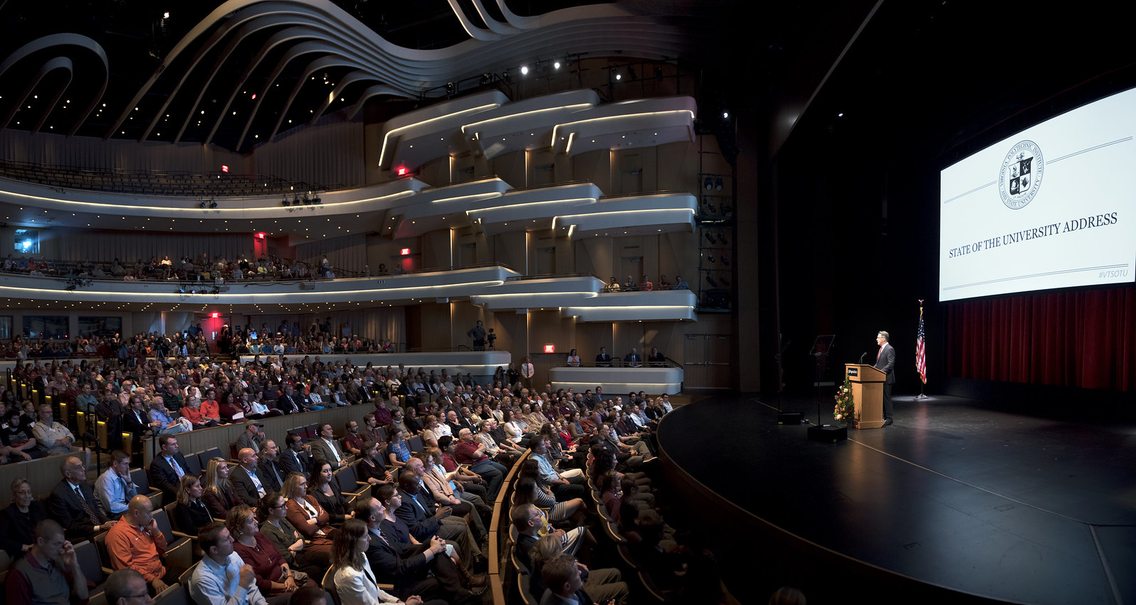 Virginia Tech President Timothy Sands speaks to the crowd in the Anne and Ellen Fife Theatre in the Moss Arts Center on Sept. 30, 2016. Photo courtesy of Virginia Tech.