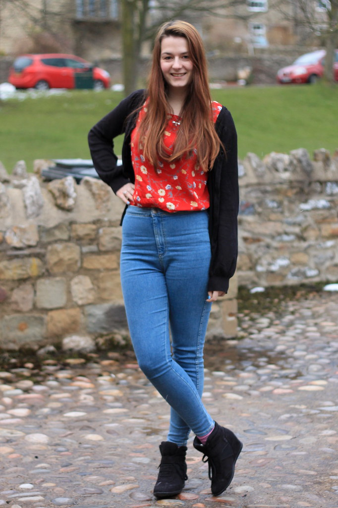 Ootd Outfit Of The Day Red Floral Top High Waist Jeans