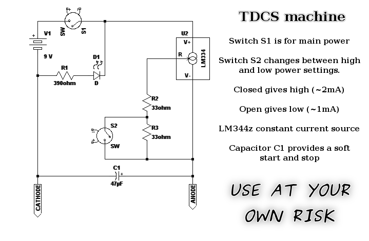 tdcs questions biohack me here s my latest schematic for a fairly simple tdcs machine a high low selector for the current