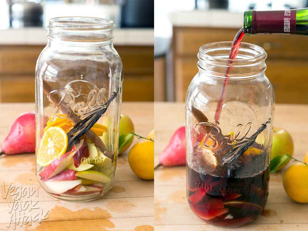 Easy-to-make Sparkling Fall Sangria with crisp apples, pears, and spices! #vegan #glutenfree @Veganyackattack
