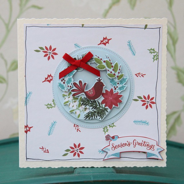 Docrafts Folk Christmas simple bird decoupage card. Made by StickerKitten.