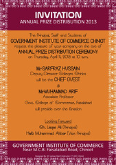 Invitation Card 2013 C 2013 Maan Usman Gic Chiniot Flickr