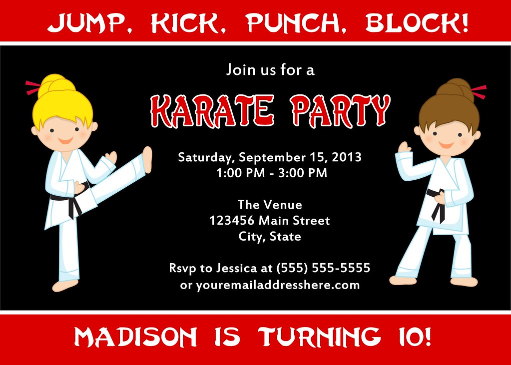Printable Karate Birthday Party Invitation | I have many mor… | Flickr