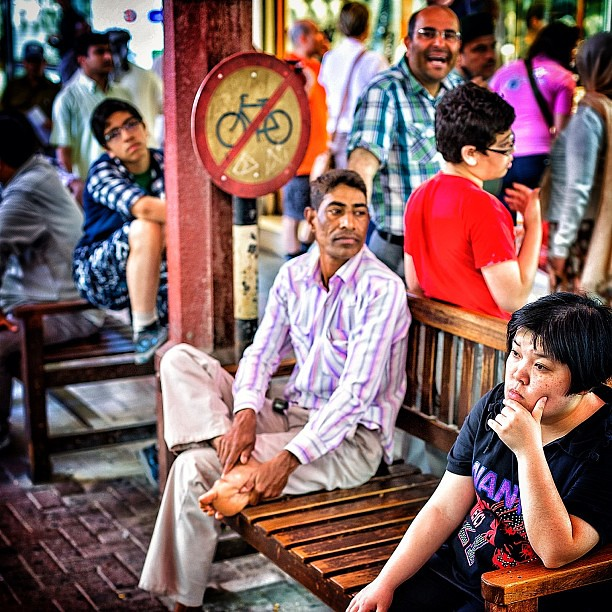 dubai #market #man #bench #uae #indian #crowd #sign #colo