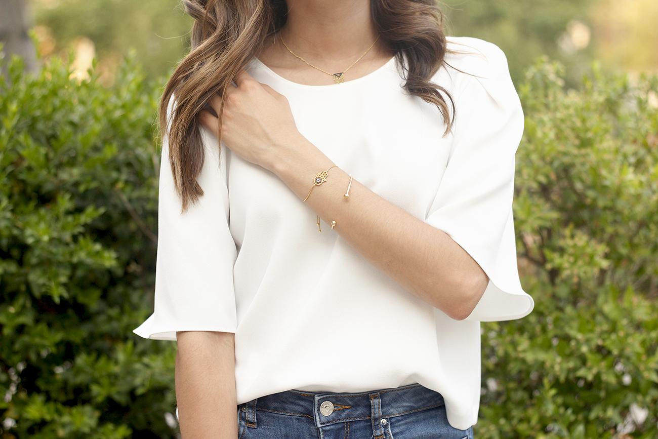 White blouse jeans earrings earcuff jewellery corte ingles joyería verano summer outfit style7