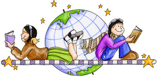 Two kids reading - clipart