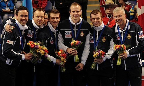 Victoria B.C.April 7,2013.Ford Men's World Curling Championship.Btonze Medalist,skip David Murdoch,third Tom Brewster,Scott Andrews,Michael Goodfellow,Greg Drummond,Coach Soren Gran.CCA/michael burns photo | by seasonofchampions