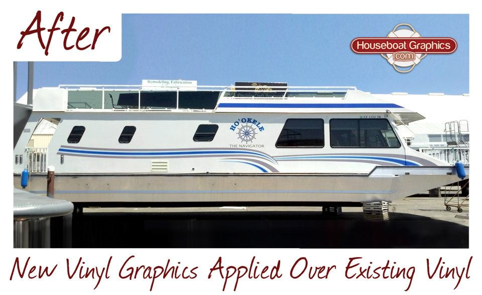Houseboatgraphicsnewvinylgraphicsappliedoverexisiti Flickr - Custom designed houseboat graphics