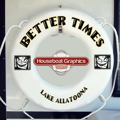 Houseboatgraphicsbettertimescustomliferingbuoyboat Flickr - Custom designed houseboat graphics