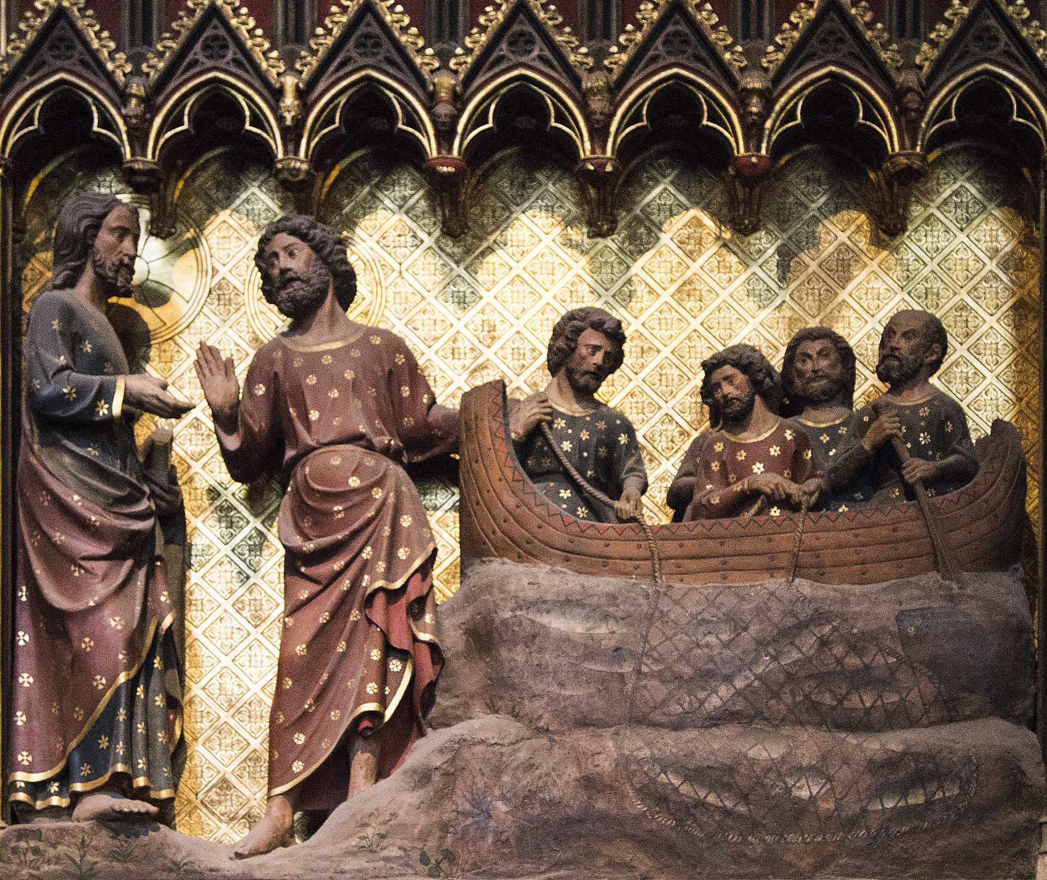 """Christ appears to St Peter at the Sea of Tiberias,"" from the medieval choir screen of Notre Dame Cathedral in Paris. Photo by Fr Lawrence Lew, on Flickr (CC BY-NC-ND 2.0)."