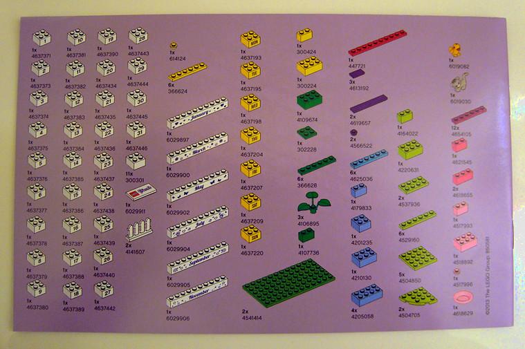 lego friends calendar instructions