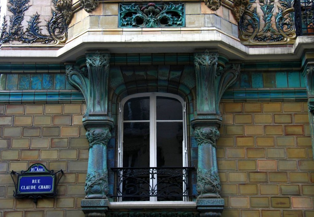 Art nouveau window and ceramics in paris 16th architecture flickr - Architect binnen klein gebied paris ...