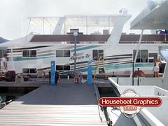 Houseboatgraphicscustomboatvinylgraphicscolorstripe Flickr - Custom houseboat graphics