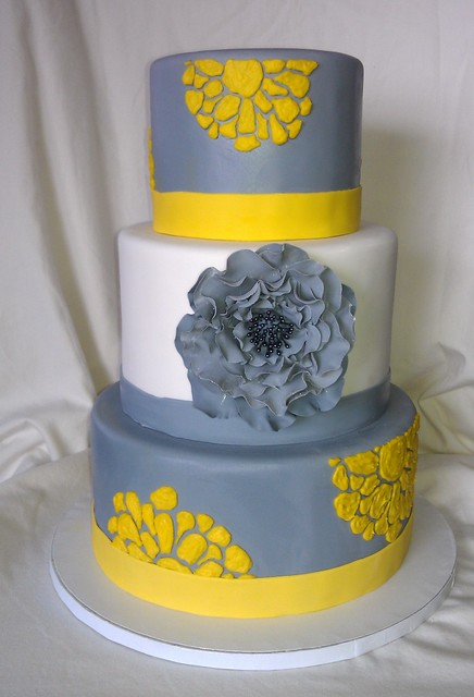 Gray Yellow Wedding Cake Flickr Photo Sharing