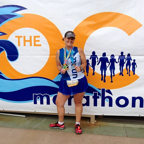 Finally completed the Beach Cities Challenge at the @ocmarathon half today! Couldn't have done it without my @runteamsparkle skirt and visor plus @nuunhydration singlet! #ocmarathon #ochalf #teamsparkle | by AngryJulieMonday