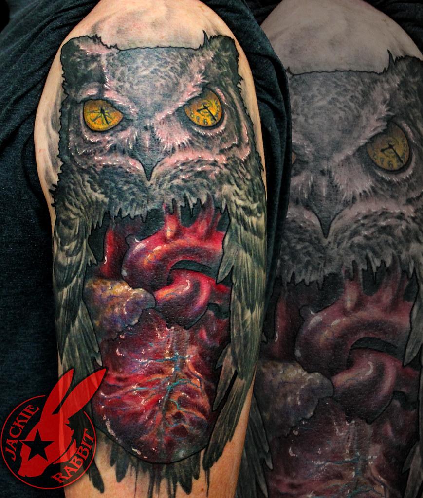 Realistic owl anatomical heart compass clock sleeve tattoo for Owl heart tattoo