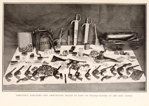1922 - Narcotics, firearms, and ammunition seized (by NYPD) in raid on headquarters of Hip Sing Tongs (Chinese-American criminal organization) | by Lloyd Sealy Library, John Jay College
