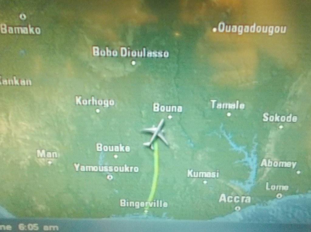 Carte du vol AF703 | Abidjan - Paris Air France Boeing 777 ...