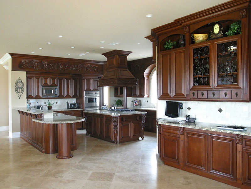 Custom maple kitchen with carving design best