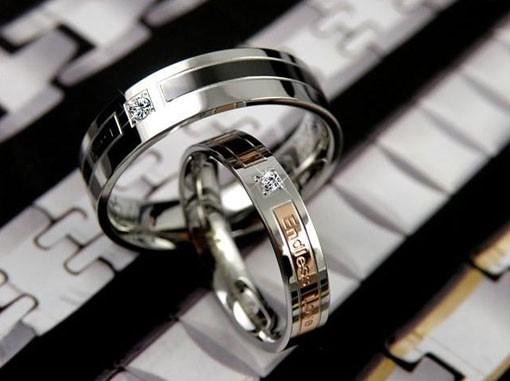Custom Name Korean His Her Titanium Steel Couple Rings Set Flickr